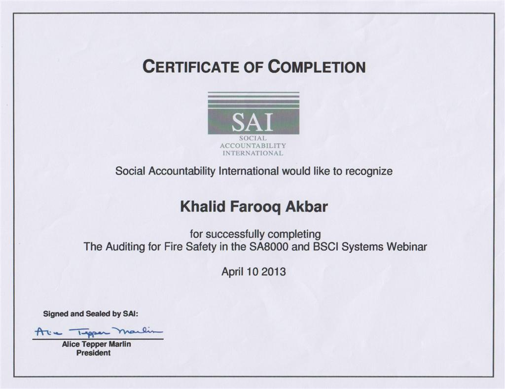 Fire Safety Certificate Template